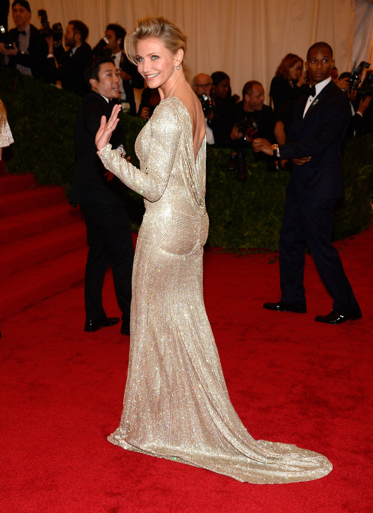 Cameron Diaz gave a wave wearing Stella McCartney at the Met Gala.