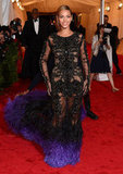Beyoncé Knowles gave a smile while arriving in Givenchy at the Met Gala.