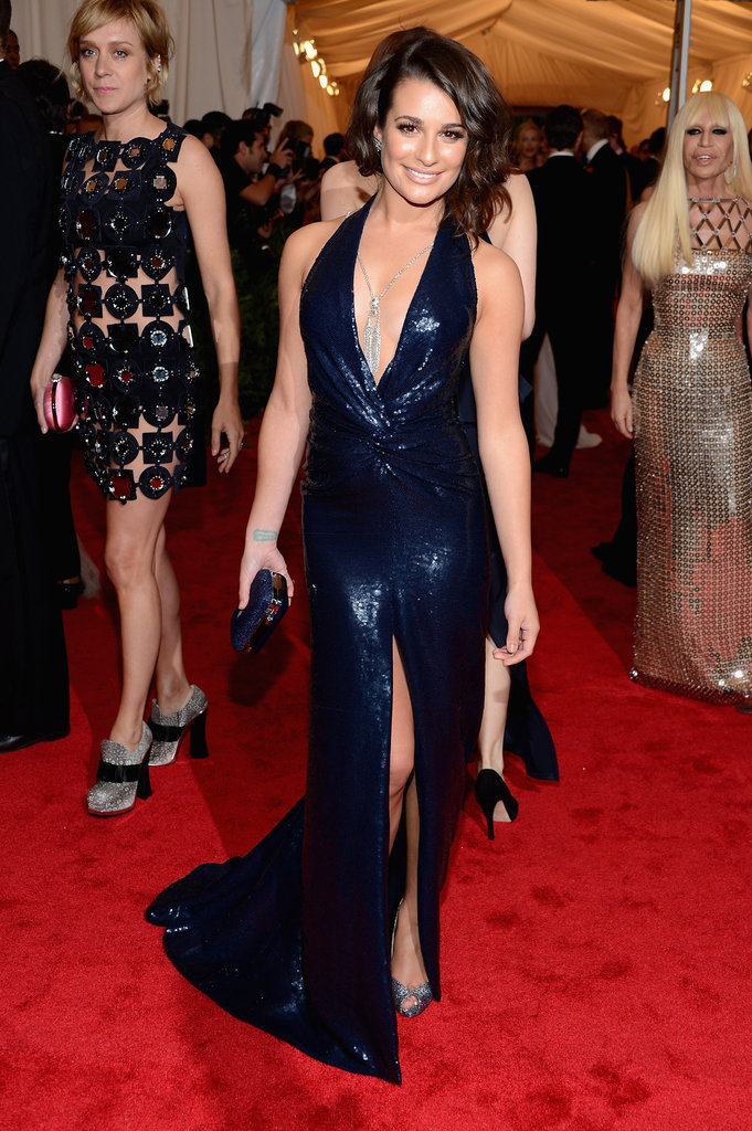 Lea Michele in a Diane von Furstenberg dress and Lorraine Schwartz jewels at the Met Gala.