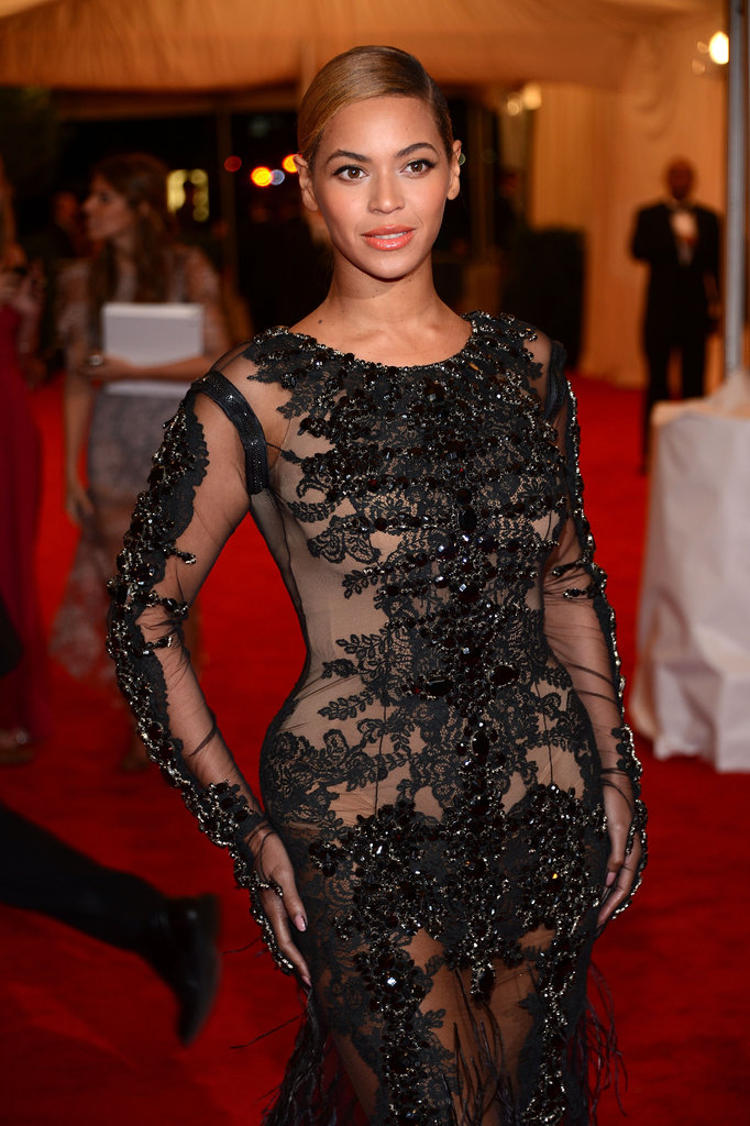 Beyoncé's gorgeous Givenchy gown with intricate beading on the bodice and sleeves.
