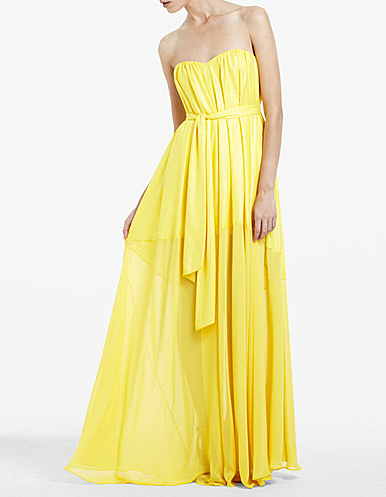 Think of all the ways you can dress up or dress down this sunny yellow maxi dress. BCBG Max Azria Strapless Belted Long Dress ($209, originally $348)