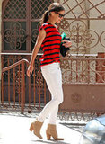 Katie Holmes makes a serious case for white jeans and stripes here.