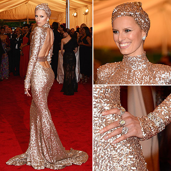 All Angles: Karolina Kurkova Gets Gilded and Gorgeous in Rachel Zoe at the Met Gala