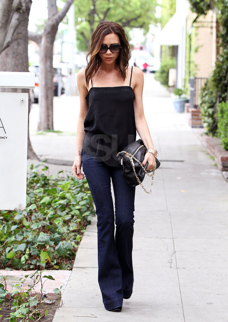 While Victoria Beckham usually goes the glamorous route, we can't help but love when she rocks an ultraflared jean with simple separates.