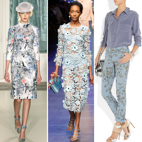 The floral trend as seen in fashion, from runways at Erdem and Dolce & Gabbana, to the must-have floral jeans from Citizens of Humanity.