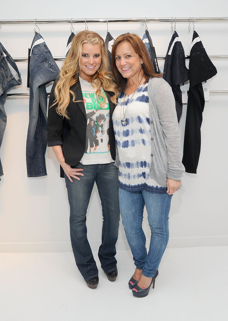 Jessica Simpson and her mother, Tina, posed together during Jessica's denim launch in 2010.