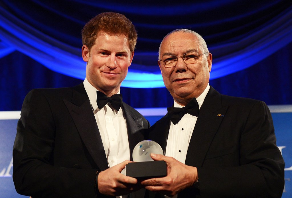 Colin Powell presented Harry with his statue for the Distinguished Humanitarian Leadership Award in Washington DC.