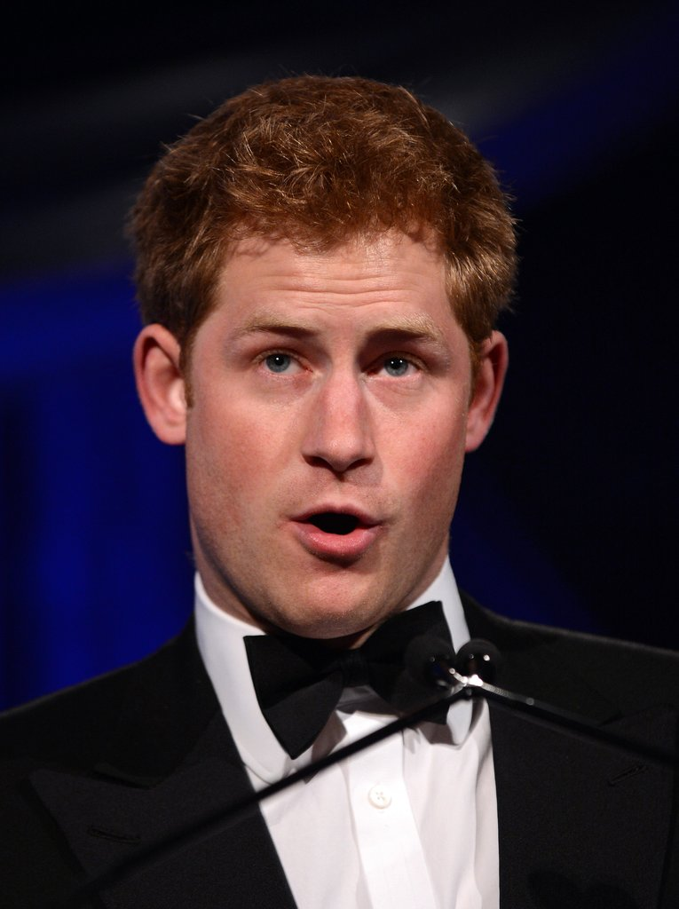 Prince Harry gave an acceptance speech in his tux as a recipient of the Distinguished Humanitarian Leadership Award in Washington DC.