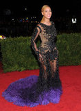 Beyoncé Knowles posed at the Met Gala in a Givenchy dress.