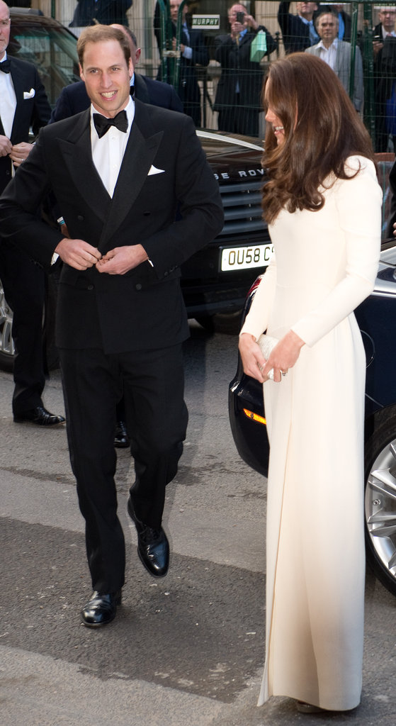Prince William smiled as he joined Kate Middleton before heading inside.