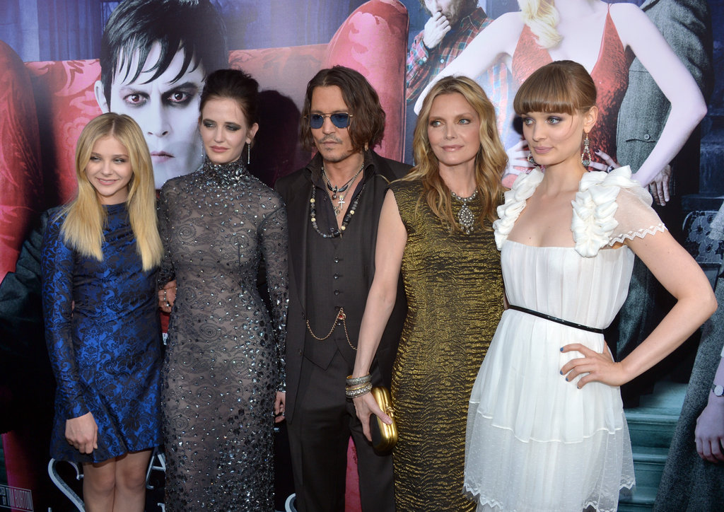 Chloe Moretz, Eva Green, Johnny Depp, Michelle Pfeiffer, and Bella Heathcote linked up on the black carpet for the premiere of Dark Shadows in LA.