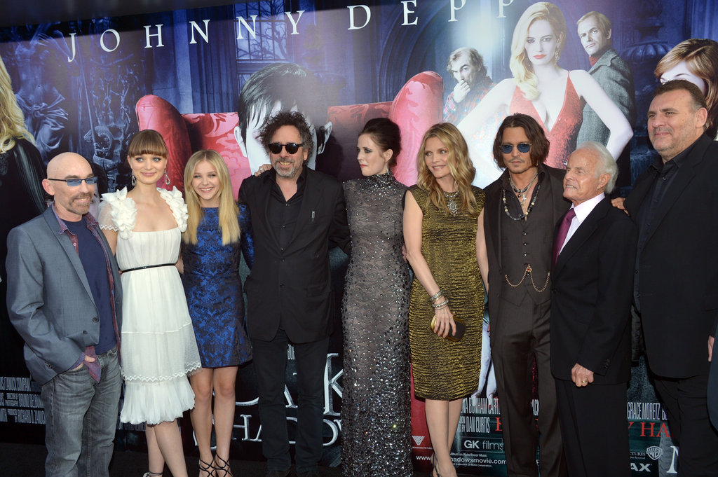 Jackie Earle Haley, Bella Heathcote, Chloe Moretz, director Tim Burton, Eva Green, Michelle Pfeiffer, Johnny Depp, and producers Richard D. Zanuck, Graham King, and David Kennedy were all together for the premiere of Dark Shadows in LA.