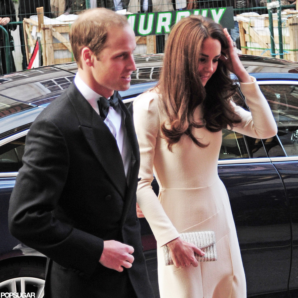 Prince William led Kate Middleton as they arrived at Claridge's in London.
