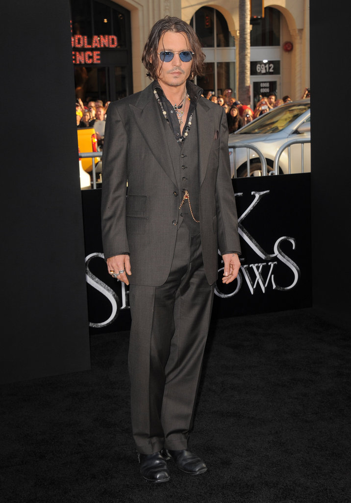 Johnny Depp wore a black suit to the Dark Shadows premiere in LA.