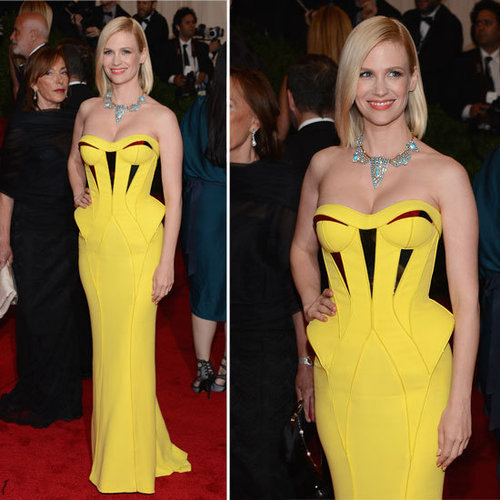 Pictures of Mad Men Star January Jones in Yellow Versace Gown on the Red Carpet at the 2012 Met Costume Institue Gala