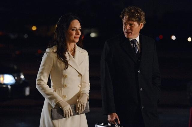 Madeline Stowe as Victoria and Michael Reilly Burke as John on Revenge. Photo courtesy of ABC
