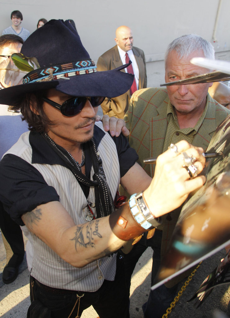 Johnny Depp was ready for an interview at the Jimmy Kimmel Live studios.