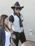 Johnny Depp was dressed in his signature style at the Jimmy Kimmel Live studios.