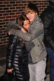 Justin Bieber and his mum, Pattie, shared a hug outside the Late Show studios in January 2011.