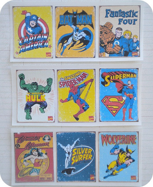 Vintage Superhero Stickers ($5)