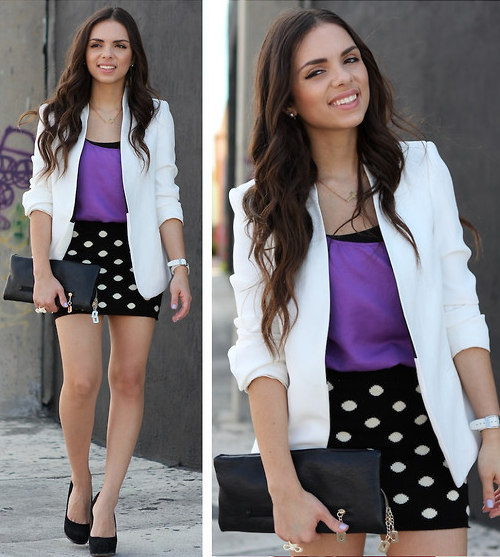 Try this polka-dotted style for date night. Just add a white blazer for instant polish.  Photo courtesy of Lookbook.nu