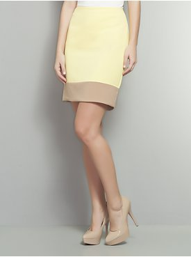 We love this colorblocking in a cool, lemon hue that would look sweet with a neutral tank or a breezy button-up.  New York & Co. Colorblock Yellow and Taupe Pencil Skirt ($47)