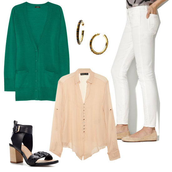 Create a work-appropriate ensemble by pairing a loose-fitted blouse with a colorful cardigan and white jeans. Then, to make sure your personality shines through, add a fun pair of oversize hoop earrings into the mix. Get the look:   Elizabeth and James Aaliyah Silk-Chiffon Blouse ($265)