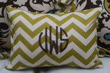 Tootledoo Designs Monogrammed Chevron Pillow ($35)