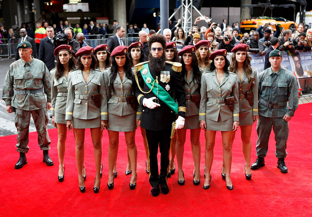 Sacha Baron Cohen dressed up for the occasional in his fully decorated costume.