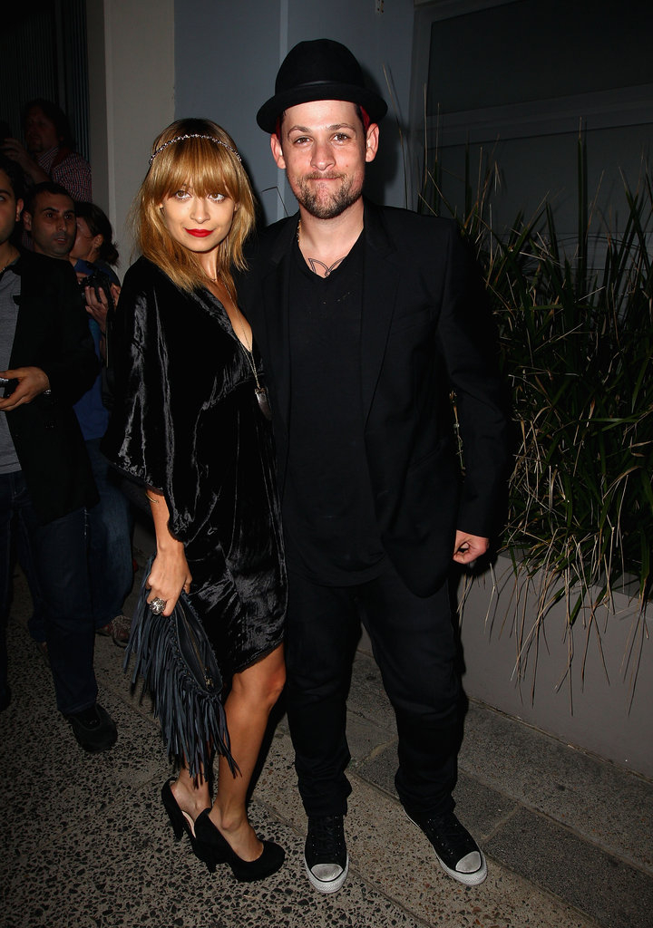 Nicole Richie and Joel Madden both wore black to attend a party for The Voice Australia in Sydney.