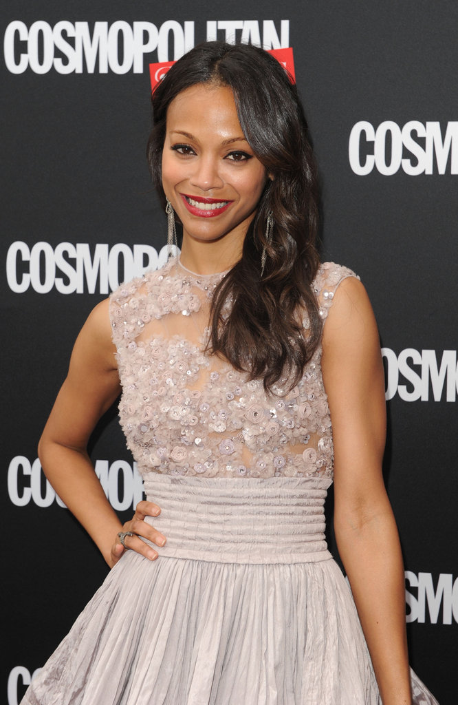 Zoe Saldana wore a feminine Elie Saab number to the launch of Cosmopolitan for Latinas in NYC.