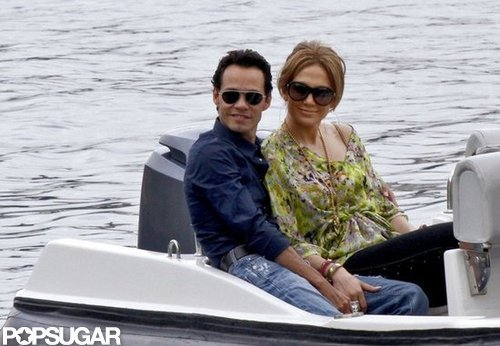 Jennifer Lopez and Marc Anthony cuddled up in the back of a boat during a November 2010 trip to Nice.