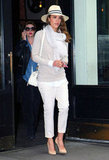 Jessica Alba wore white in NYC.