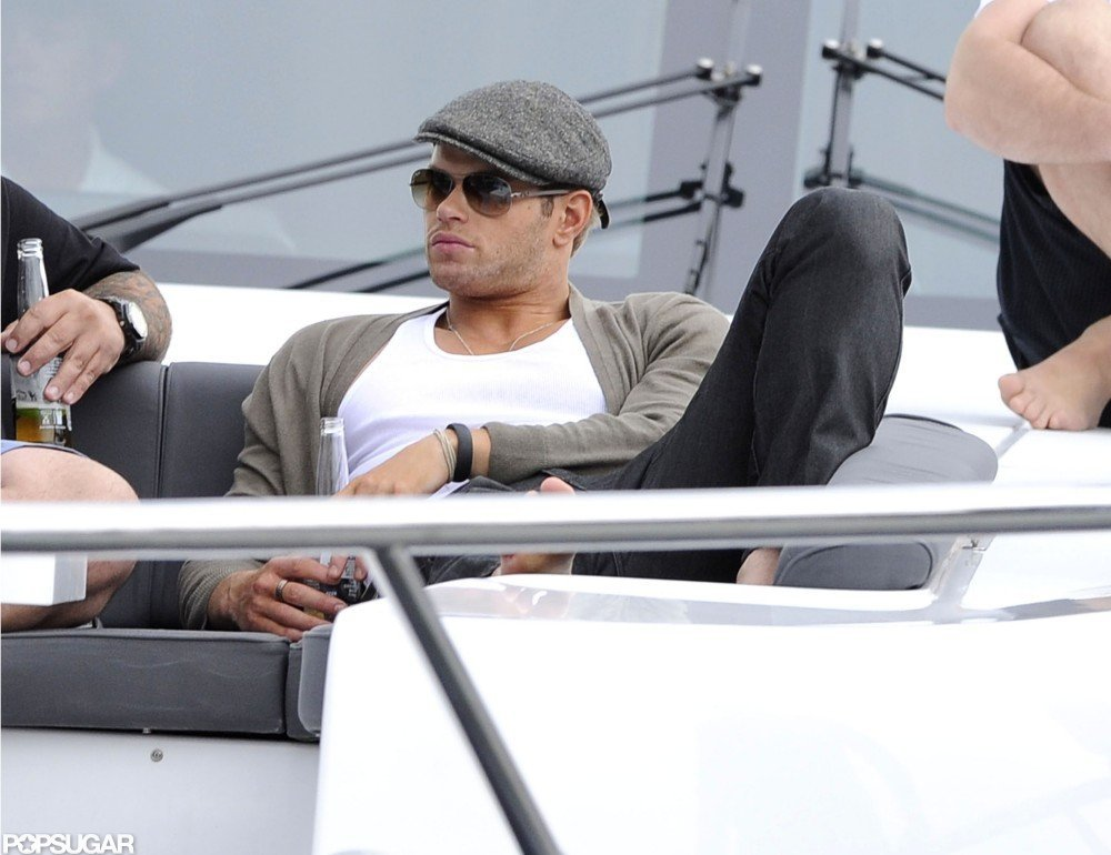 Kellan Lutz lounged on the deck of a boat in the Sydney harbor in April 2012.