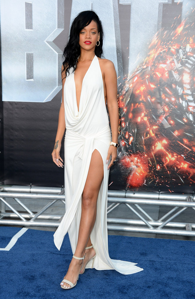 Rihanna stepped onto the blue carpet the premiere of Battleship in LA.