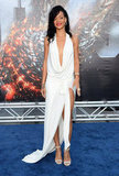 Rihanna looked stunning in a white dress at the premiere of Battleship in LA.