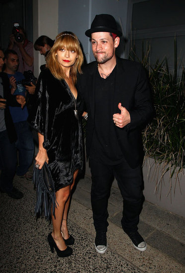 Nicole Richie posed with husband Joel Madden outside of a party for The Voice Australia in Sydney.