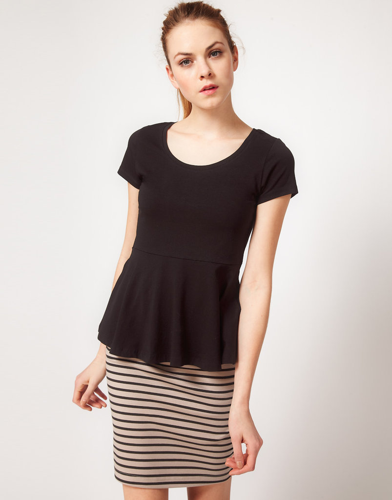 Top your pencil skirts with a bit of peplum to add charm to your separates.  Vila Jersey Peplum Top ($35)