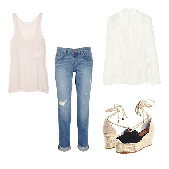 Boyfriend jeans are a favorite pair to hang around in on weekends because of their comfy, slouchy fit. Still, that doesn't mean you can't give them a little seasonal sophistication. With a fitted white blazer, a pastel tank, and a pretty pair of espadrilles, they may be just polished enough to take to a casual office. Get the Look:  J Brand Denim Aiden Distressed Boyfriend-Fit Jeans ($220) Kain Classic Washed Silk Tank ($155) Acne Tate Silk-Crepe Blazer ($640) Nine West Nine West Youdig Espadrilles ($50)