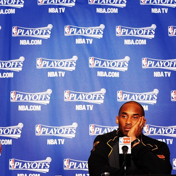 An exhausted Kobe Bryant took the podium following a game in Denver.  Source: Instagram user lakers
