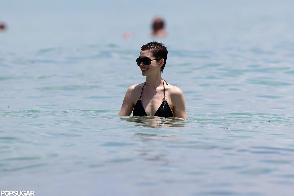Anne Hathaway vacationed in Miami.