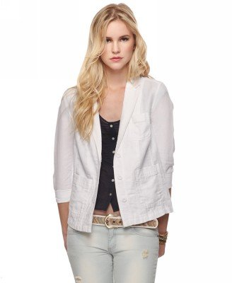 Nothing says Spring like a crisp white blazer.  Heritage 1981 Linen-Blend Herringbone Blazer  ($29)