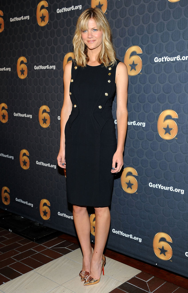 Brooklyn Decker channeled military-inspired polish in a fitted sheath and a glittering pair of gold Louboutins.