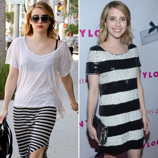 Emma Roberts shows us how to wear stripes from day to night.