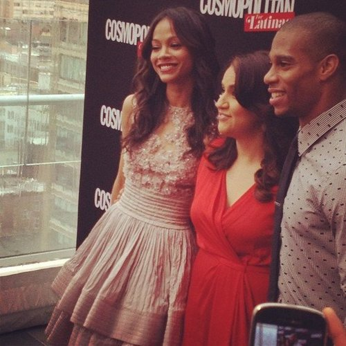 Zoe Saldana made a sweet arrival at her Cosmopolitan for Latinas launch in NYC.