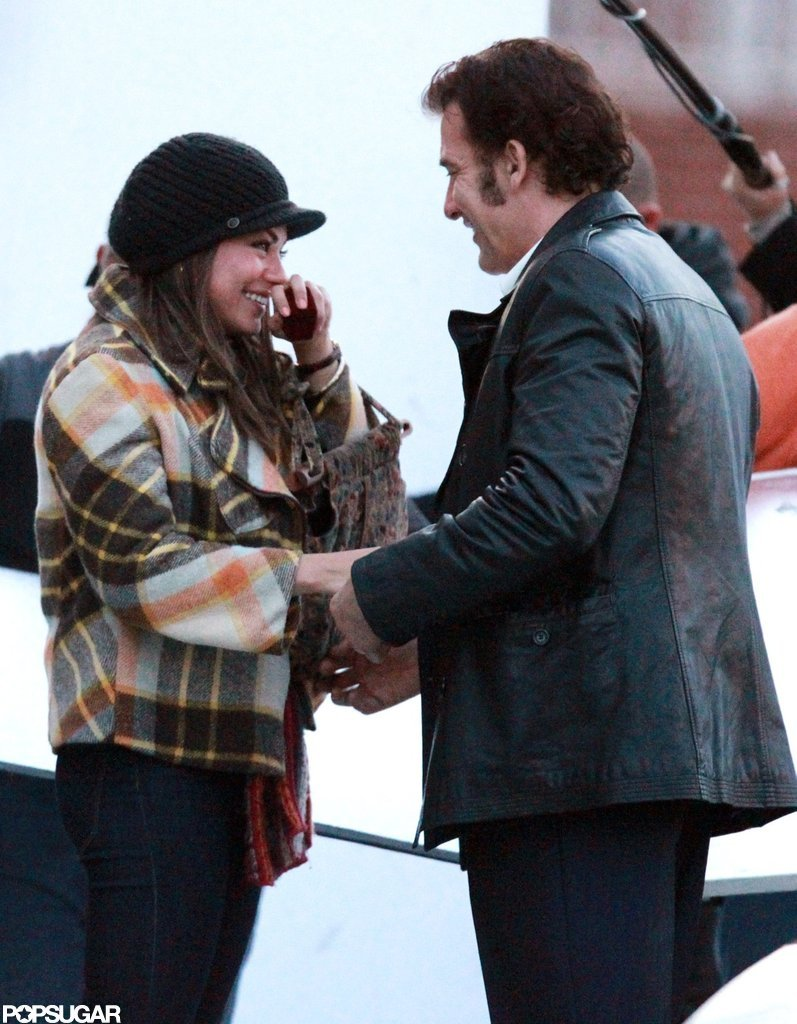 Mila Kunis and Clive Owen filmed an engagement scene together on the set of Blood Ties in NYC.