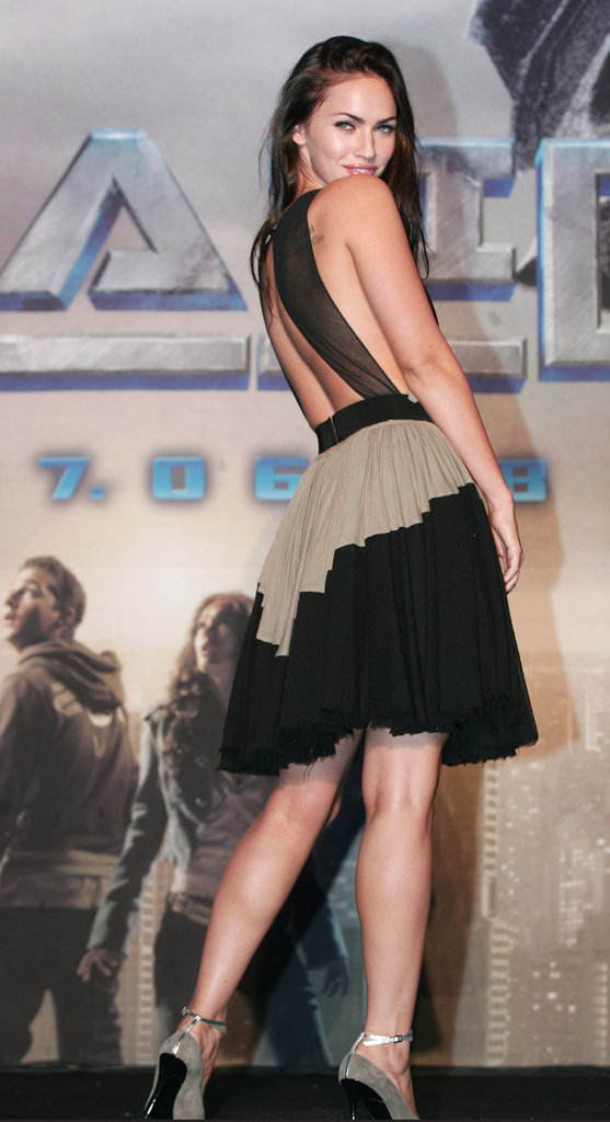 Megan Fox showed some skin in June 2007 for a Transformers press conferences and photocall in Seoul.