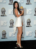 In June 2008, Megan Fox showed some leg in the MTV Movie Awards press room.