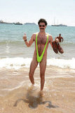 Sacha Baron Cohen hit the beach for the Borat photo call in 2006.