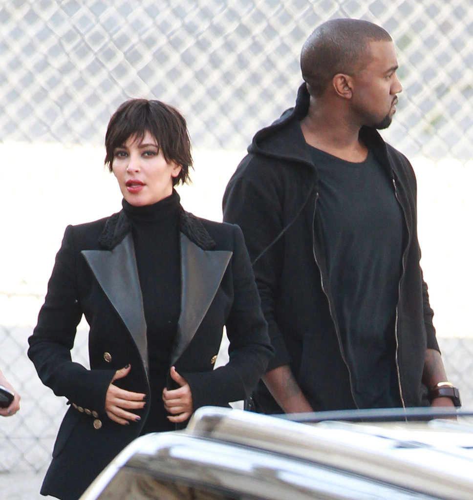 Kim Kardashian  and Kanye West hung out together during the Vogue Italia photo shoot.